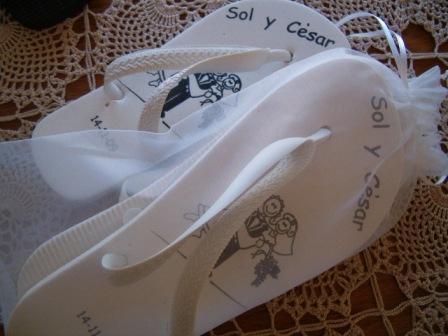 Souvenir Ojotas personalizadas SC | Casamientos Online