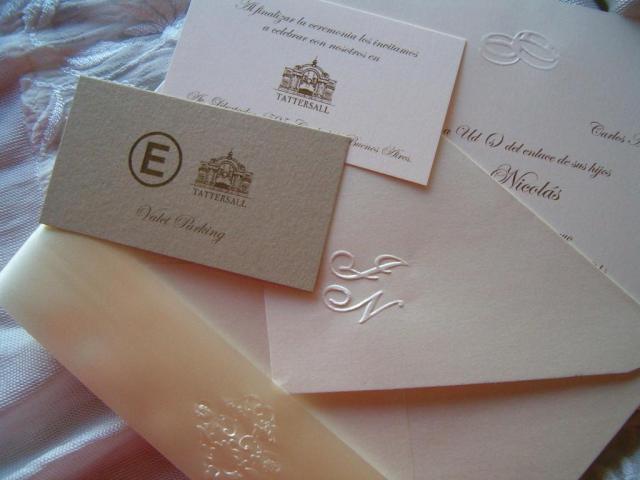 Tarjetas de casamiento en relieve JN | Casamientos Online