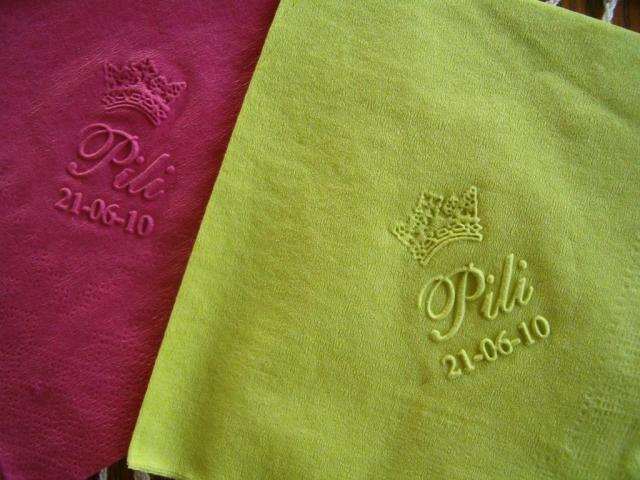 Servilletas personalizadas en tissue de colores producto de estilo y relieve sobre souvenirs en - Servilletas personalizadas ...
