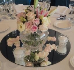 Centro de mesa base de espejo velas y rosas ajilbabcom - Base de vela ...