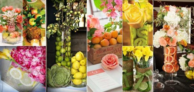 Centros de mesa con fruta