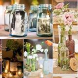 Centros de mesa de frascos de vidrio