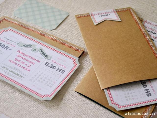 Wish - Invitación de boda kraft | Casamientos Online