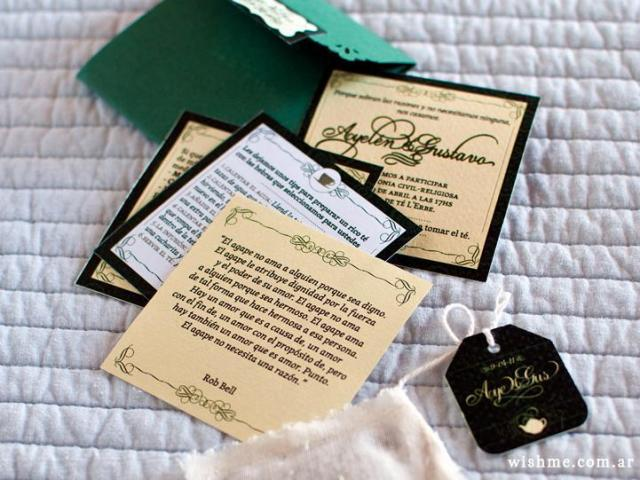 Invitación de boda modelo vamos a tomar el té | Casamientos Online
