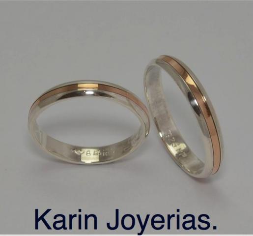 Exclusivas OP412 Plata 925 y Oro 18klts. www.karinjoyerias.com    Casamientos Online