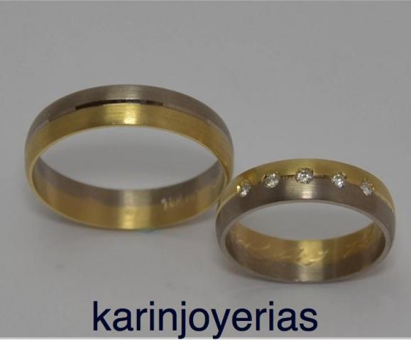 Exclusivas Media Caña Bicolores Oro18klts/750 y Brillantes. www.karinjoyerias.com   Casamientos Online