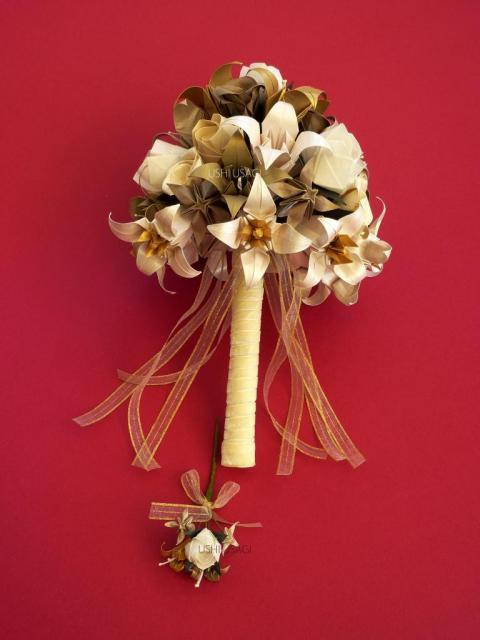 Ramo de novia. Ramo de papel. Lirios y rosas. | Casamientos Online
