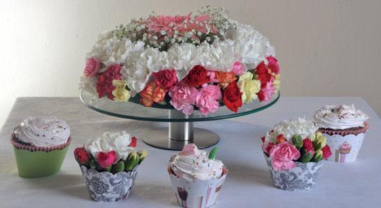 Cup cake de flores para las mesas dulces