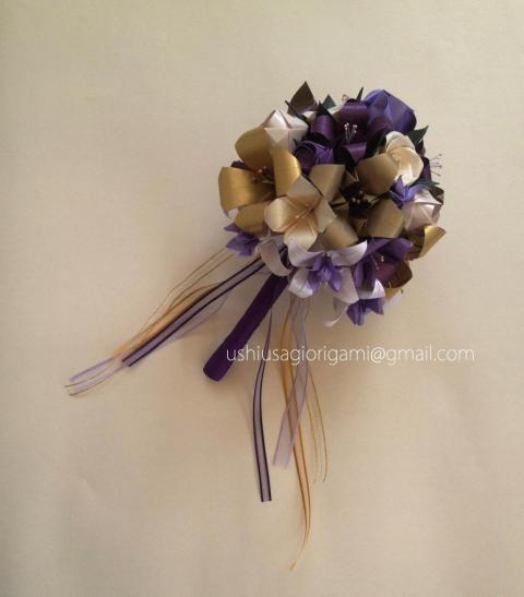 Ramo de novia violeta y dorado | Casamientos Online