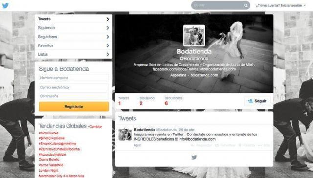 Bodatienda - Seguinos en Tweeter | Casamientos Online