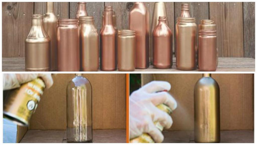 Diy centros de mesa frascos de vidrio pintados for Mesa cristal y dorado