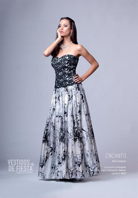 vestido de fiesta plata y negro | Casamientos Online