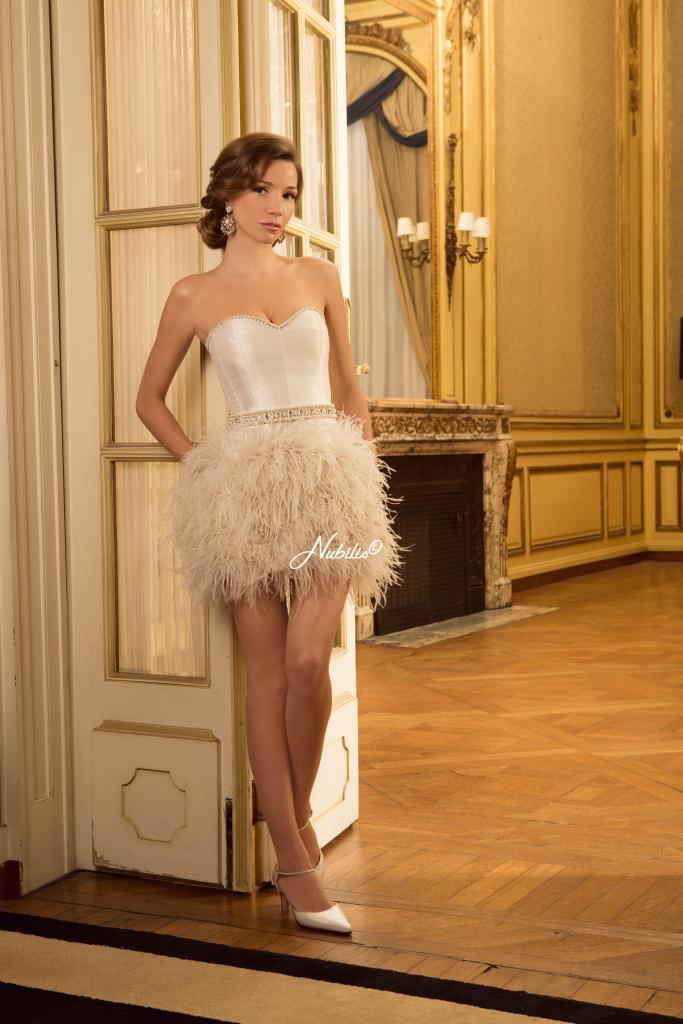 Vestido Emilia plumas