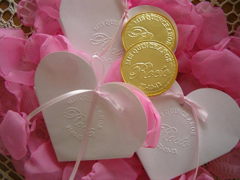 Monedas de chocolate personalizadas + bolsita en relieve