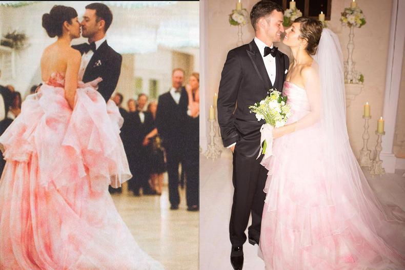 Jessica Biel se casó con Justin Timberlake con un vestido color rosa pastel