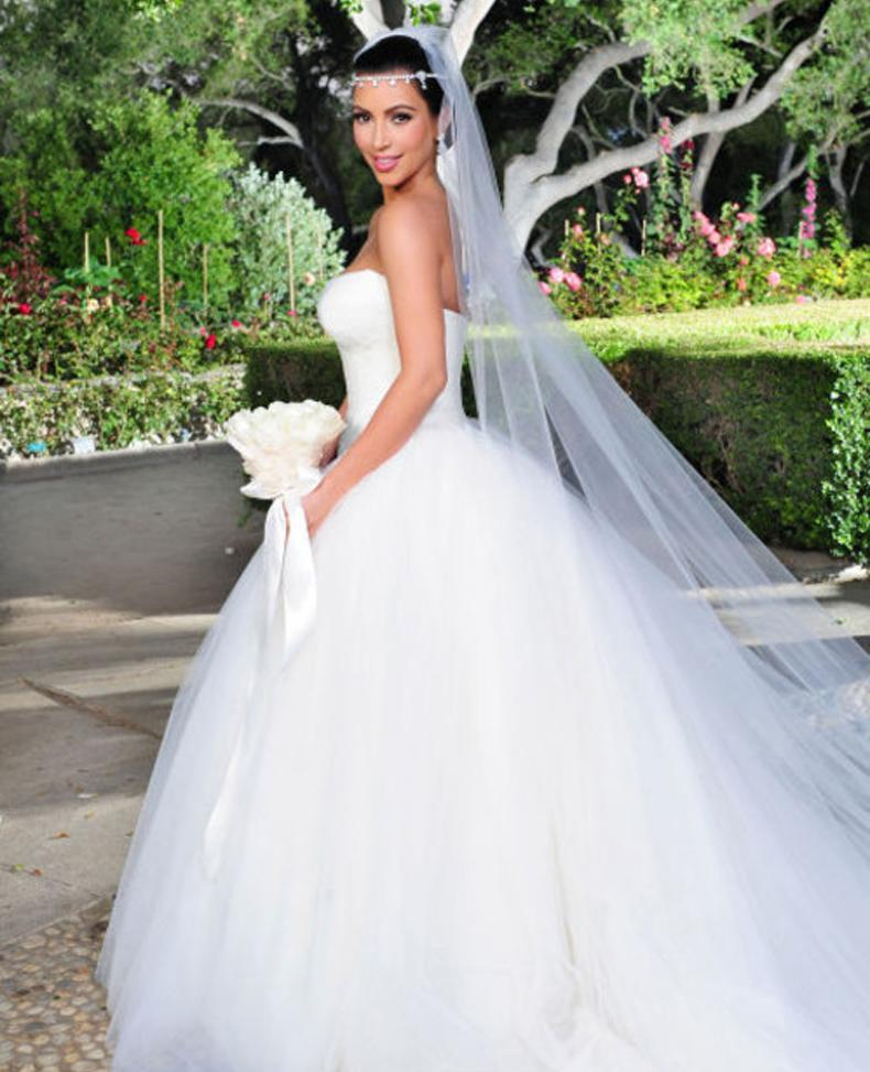 Kim Kardashian matrimonio con Kris Humphries. Vestido de Novia de Vera Wang