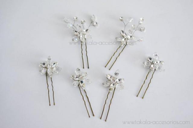 Horquillas flores de cristal. | Casamientos Online