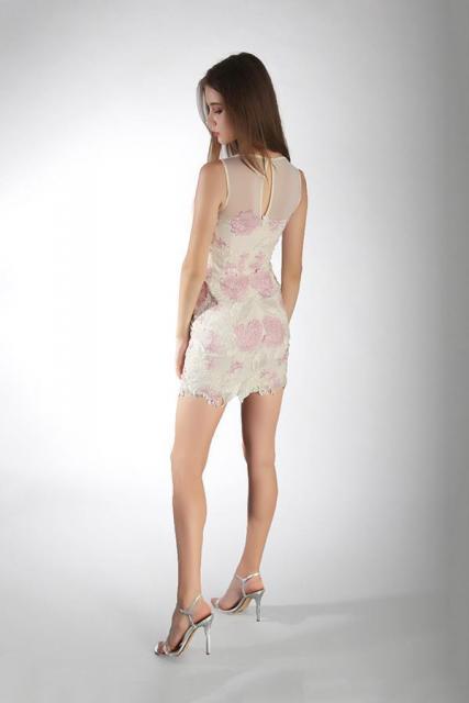 Art. 03180 Vestido al cuerpo en guipire bordado (back) | Casamientos Online