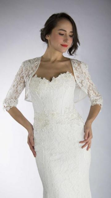 Bolero en encaje rebrode | Casamientos Online