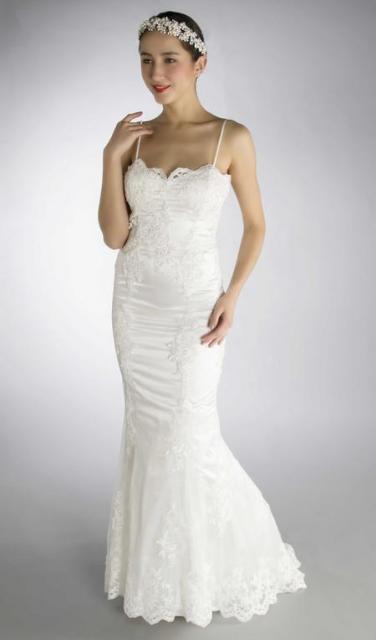Art. 03191 Delicado vestido sirena con guipire bordado | Casamientos Online