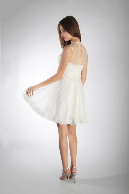 Art. 03237 Vestido de 15 escote ilusión con terminaciones de guipire (back) | Casamientos Online