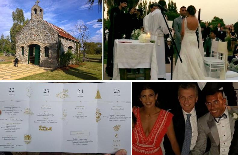 La Iglesia y el salón de la fiesta de Carlos Tevez