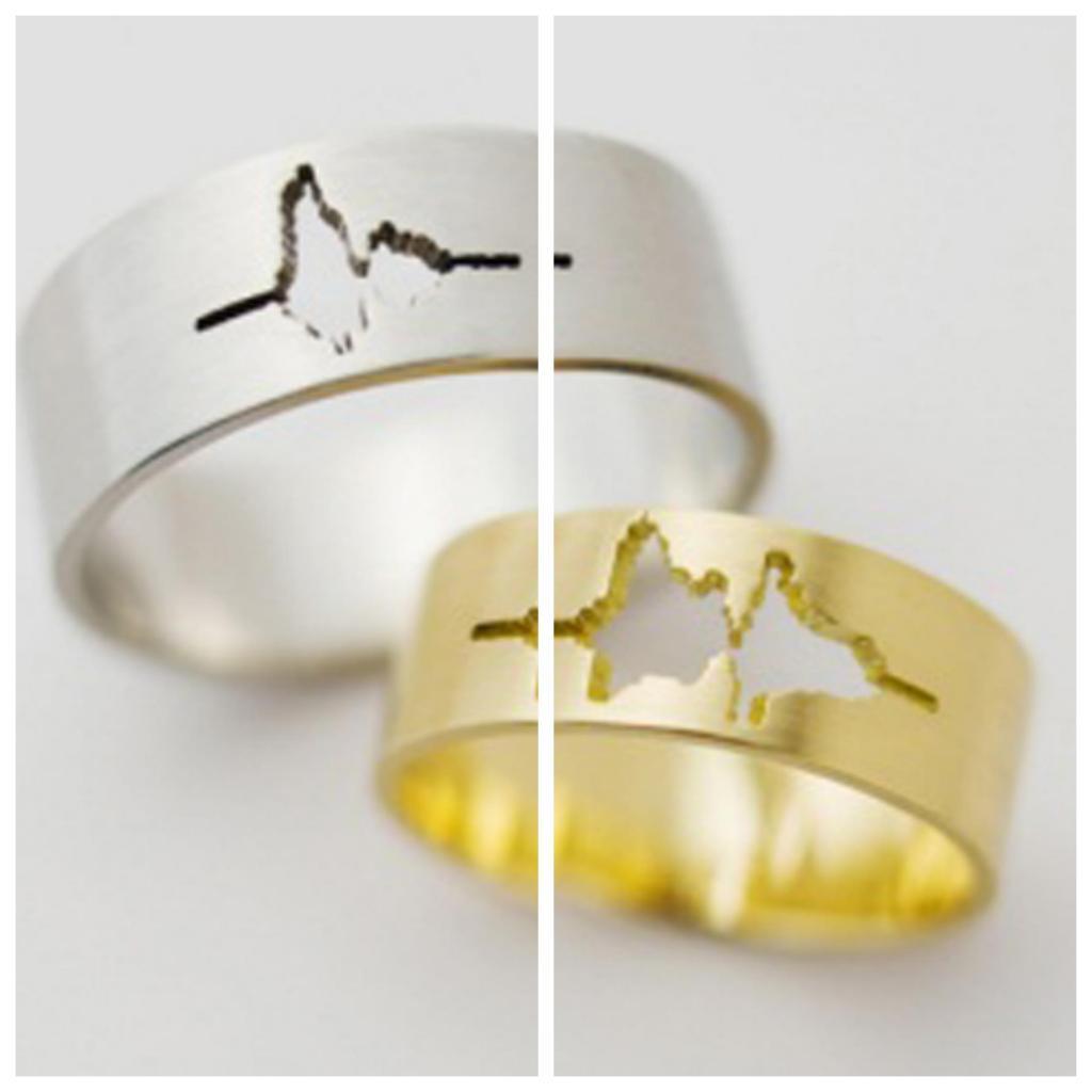 anillos con ritmo cardiaco de los novios
