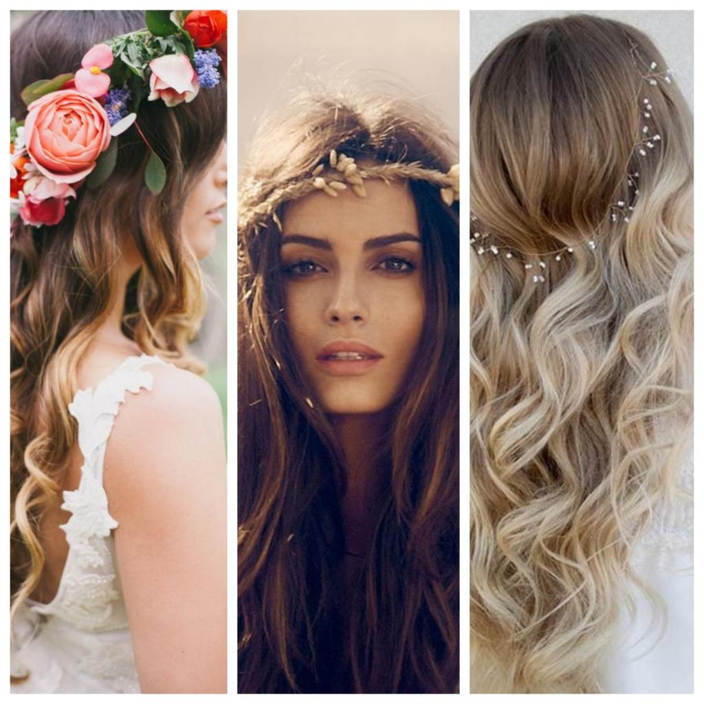 pelo suelto con ondas y corona de flores