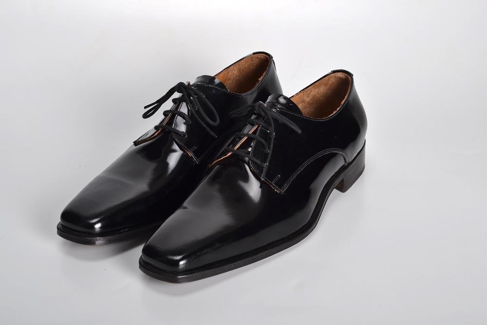 Zapatos de Charol Negros con Punta Cuadrada