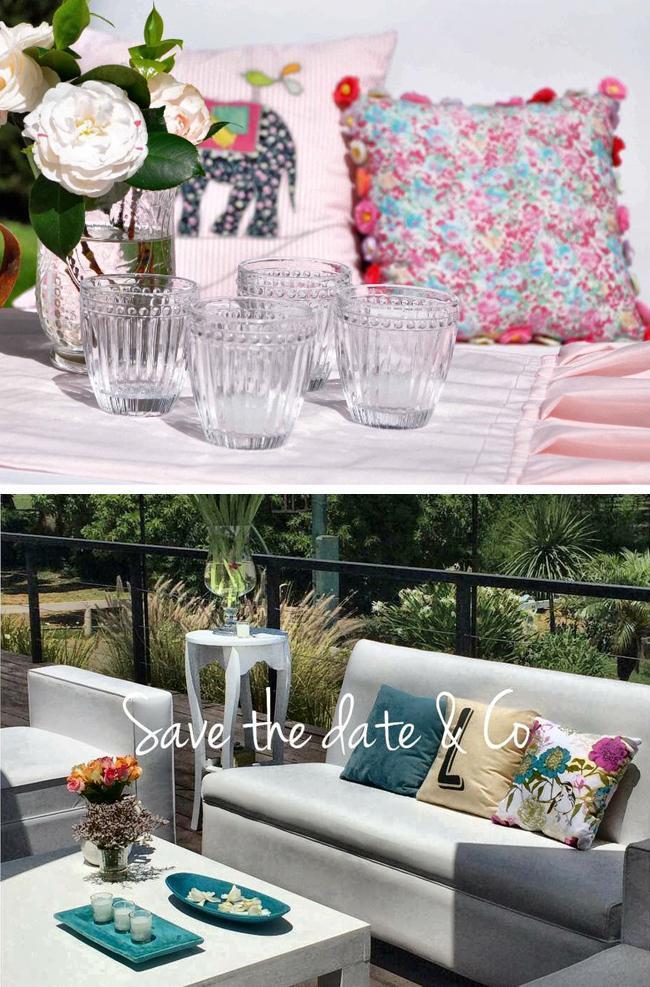 Ambientaciónes de Bodas con almohadones, livings, estilos boho chic al aire libre. Save The Date & CO