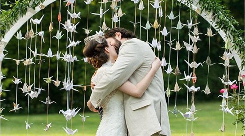 Grullas de papel para casamientos