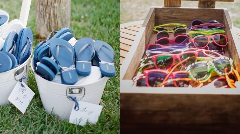 Ojotas y anteojos de sol como souvenirs para casamientos de verano