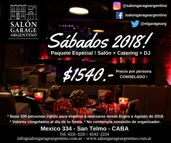 SABADOS 2018! SALON + CATERING + DJ