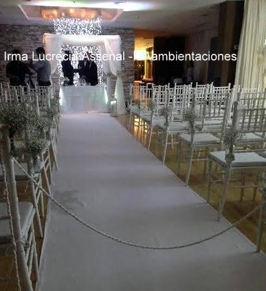 Alfombras blancas para ceremonias, en alquiler