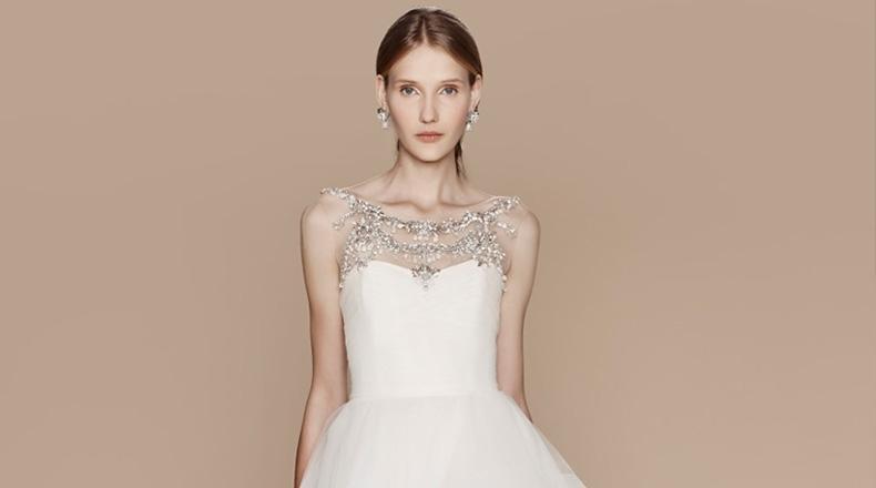 Vestido de novia escote joya