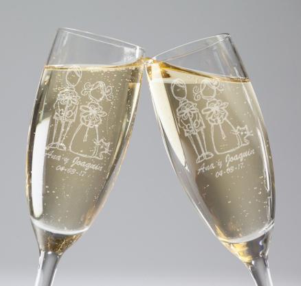 Copas de champagne grabadas personalizadas