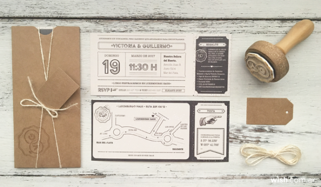 Invitación ticket | Casamientos Online