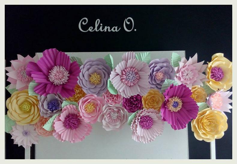 Ambientaci n de casamientos con flores de papel - Papeles de vinilo para pared ...