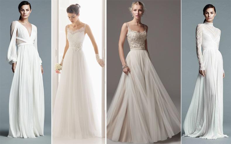 Vestido de novia con pollera plisada