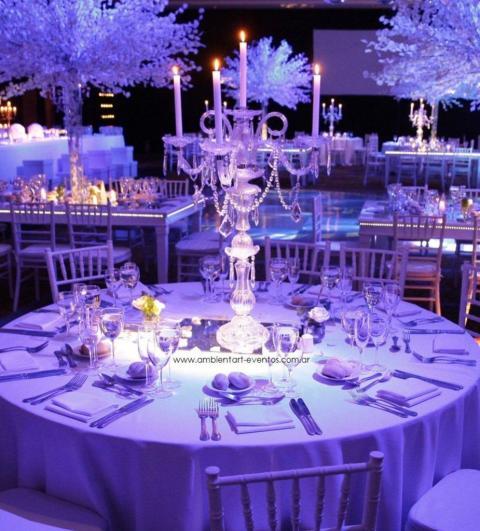 centros de mesas , candelabros de cristal con caireles  | Casamientos Online