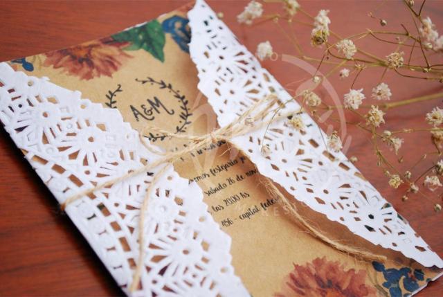 Invitación modelo Belión Kraft   Casamientos Online