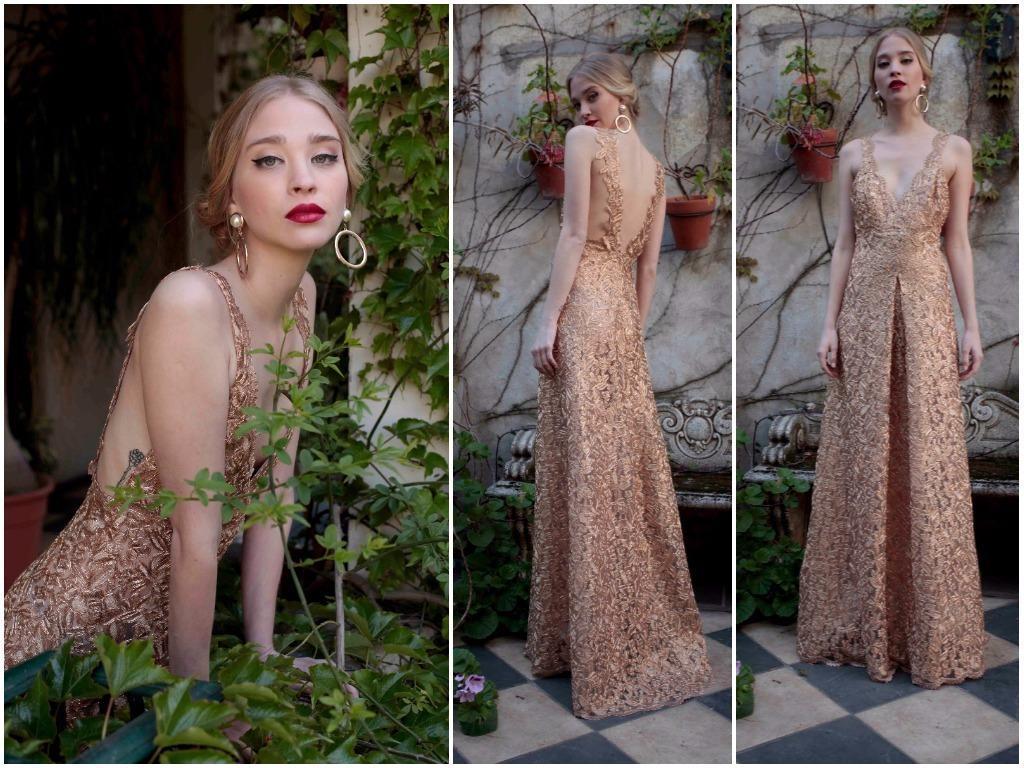 Vestido de novia dorado o nude