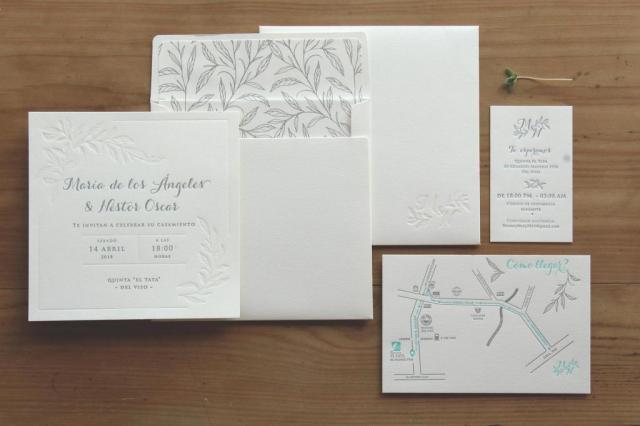 De Otoño Letterpress (Participaciones) | Casamientos Online