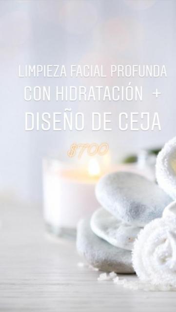 Limpieza facial profunda + hidratación + Diseño de cejas.
