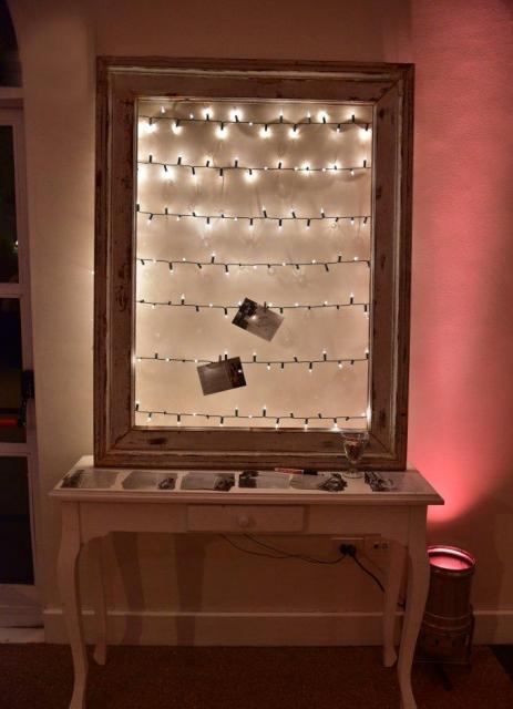 Marco de madera + fotos polaroid