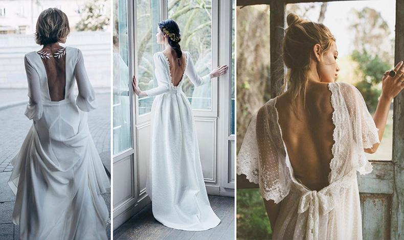 Espaldas románticas en el vestido de novia