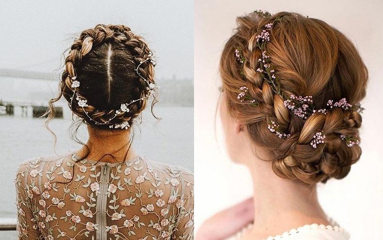 Peinados recogidos con trenzas, ideales para novias boho chic