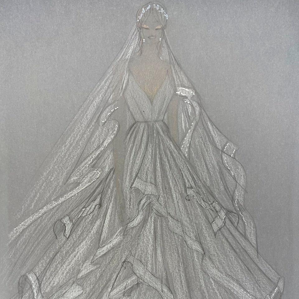 Boceto del vestido por Gabriel Lage